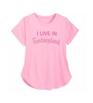 Disney Shirt for Women - I Live in Fantasyland - Pink