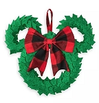 Disney Holiday Door Hanger - Mickey Mouse Wreath - Plaid Bow