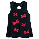 Disney Tank Shirt for Girls - Minnie Mouse Bows Sequined - Black