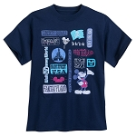 Disney Adults T-Shirt - Mickey and Walt Disney World Icons - Blue