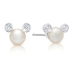 Disney CRISLU Stud Earrings - Mickey Mouse Icon Pearl - Platinum