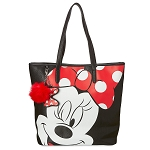 Disney Loungefly Tote Bag - Minnie Mouse Wink - Black with Polka Dots