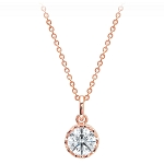Disney Crislu Necklace - Cinderella Faceted Slipper - Rose Gold