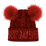 Disney Knit Hat - Minnie Pom Poms - Best Day Ever - Red