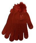 Disney Knit Gloves - Minnie Mouse Pom Poms - Red