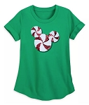Disney T-Shirt for Women - Mickey Mouse Peppermint Sequined - Green
