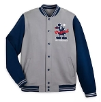 Disney Adult Jacket - Mickey Mouse Letterman - Gray and Blue