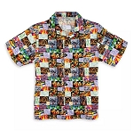 Disney Button Up Shirt for Men - Mickey Mouse and Friends Mosaic