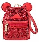 Disney Loungefly Backpack Wristlet - Minnie Mouse Sequined - Red