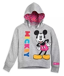 Disney Hooded Pullover Top for Girls - Fantastic 5 - Mickey Mouse - Gray