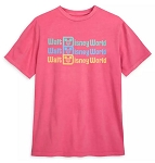 Disney T-Shirt for Adults - Walt Disney World Logo Faded - Pink