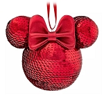 Disney Mickey Ears Icon Ornament - Minnie Mouse Sequined - Red