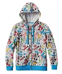 Disney Zip Hoodie for Women - Mickey Mouse All Over - Gray