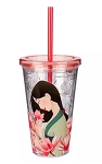 Disney Tumbler with Straw - Mulan - Pink & Gold Floral