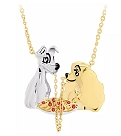 Disney Crislu Necklace - Lady and the Tramp - Gold