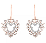 Disney Rebecca Hook Earrings - Mickey Mouse Rose Gold Heart