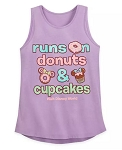 Disney Tank Top for Girls - Runs on Donuts & Cupcakes - Purple