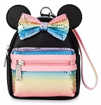 Disney Loungefly Wristlet Bag - Minnie Mouse Sequined - Rainbow