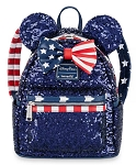 Disney Loungefly Backpack - Minnie Mouse Sequined - Stars and Stripes
