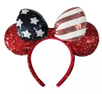 Disney Ears Headband - Minnie Mouse Americana - Red White & Blue