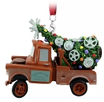 Disney Figurine Ornament - Tow Mater Hauling Christmas Tree - Cars