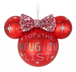Disney Mickey Ears Icon Ornament - Minnie Mouse - Naughty List