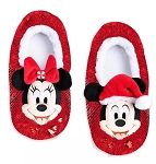 Disney Slippers for Adults - Holiday Mickey & Minnie - Reversible Sequins