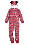 Disney Pajamas Bodysuit for Girls - Holiday Mickey and Minnie Mouse - Red