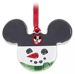 Disney Disc Ornament - Mickey Icon Snowman - Ceramic