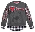 Disney Pullover for Adults - Mickey Mouse Classic - Black & White Plaid