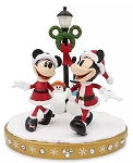 Disney Holiday Figure - Santa Mickey & Minnie Lamp Post - Light Up
