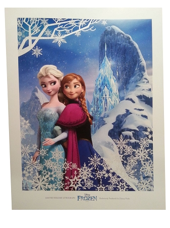 Disney Frozen Lithograph - Elsa and Anna with Ice Castle