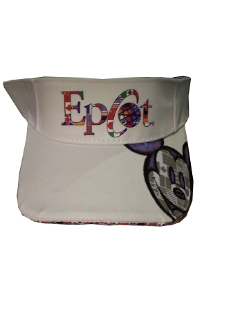 Disney Sun Visor Hat - Epcot One Mouse One World - Mickey Flags