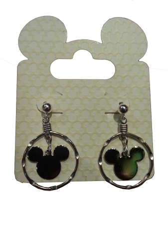 Disney Dangle Earrings - Mickey Mouse Icon - Double Silver