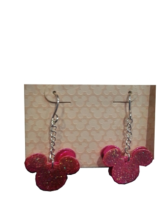 Disney Dangle Earrings - Mickey Mouse Layered Icon - Glitter Pink