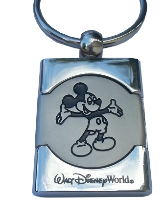 Disney Keychain - Mickey Mouse Etched - Walt Disney World - Silver