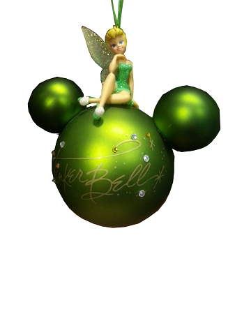 Disney Mickey Ears Icon Ornament - Tinker Bell on Top - Green