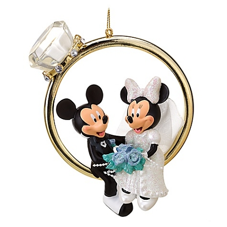 Disney Christmas Ornament - Wedding Ring - Minnie and Mickey Mouse