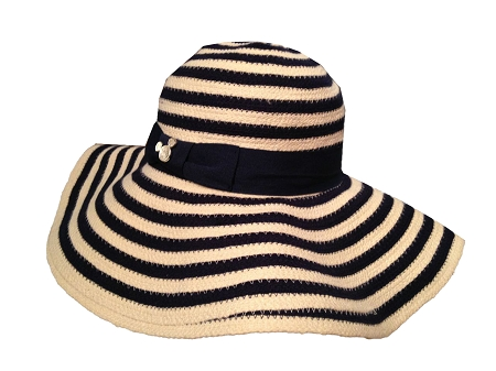 Disney Sun Hat for Women - Mickey Mouse Striped - Blue and White
