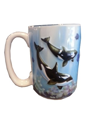 Sea World Coffee Mug - Blue Raised Whale Family