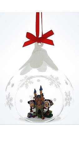 disney christmas ornament mickey and minnie mouse castle globe