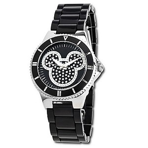 Disney Wrist Watch - Pavé Crystal Mickey Mouse in Black for Women