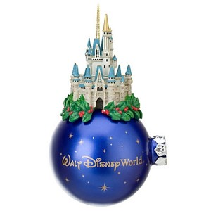 Disney Christmas Ornament - Cinderella Castle - Holly - Blue