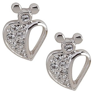 Disney Arribas Earrings - Swarovski Crystal Heart Mickey Mouse
