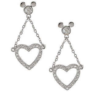 Disney Arribas Earrings - Mickey Mouse Dangling Heart