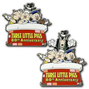 Disney Three Little Pigs Pin - 80th Anniversary - Limited Edition