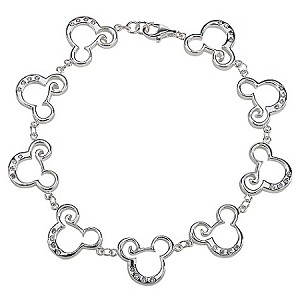 Disney Bracelet - Sterling Silver and CZ Curl Mickey Mouse