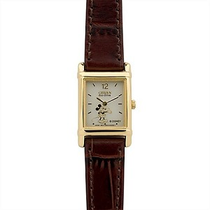 Disney Wrist Watch - Citizen Eco-Drive - Brown Leather Mickey Mouse for Women