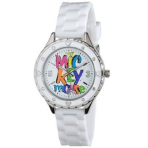 Disney Wrist Watch - Silicone Woven Mickey Mouse -- White
