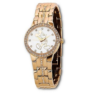 Disney Wrist Watch - Pavé Crystal Opalescent Gold Mickey Mouse